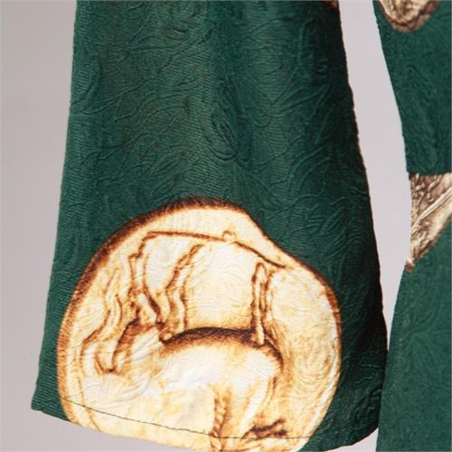 优雅气质长袖圆领复古花纹纹理欧式头像硬币印花a字连衣裙