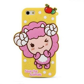 正版韩国波点小羊 iphone5s卡通硅胶套 苹果5代手机可爱保护套壳