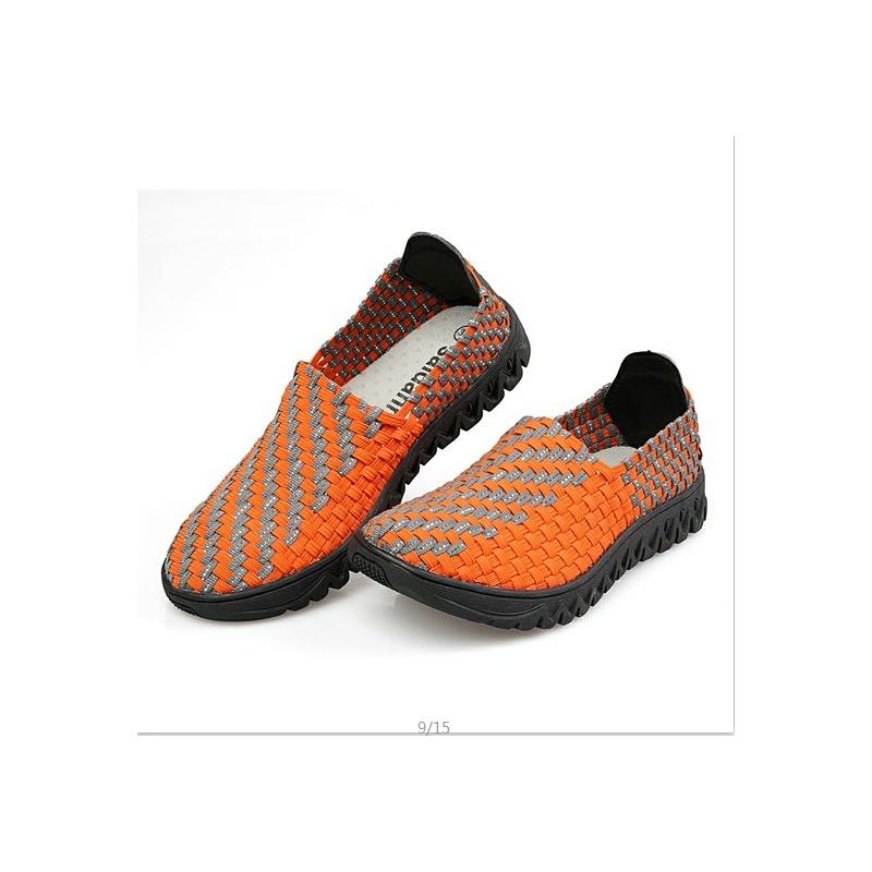 尤萨 藤条户外编织鞋子女套脚鞋松紧带运动鞋_橙色,40