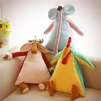 蒸汽精灵创意手工动物三角抱枕-长鼻子大象
