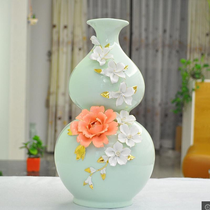 工艺品摆件时尚家居客厅装饰品欧式摆设现代葫芦花瓶
