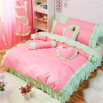 全棉韩版公主花边四件套床上用品纯棉床单被套贴布