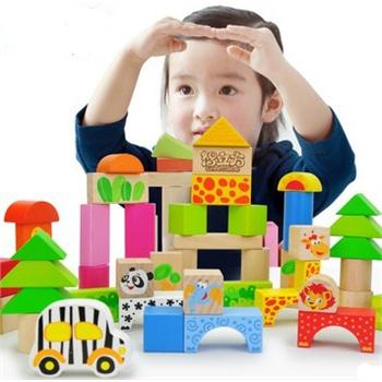 希伯来 森林动物玩具积木木制宝宝智力积木大块木质儿童益智玩具