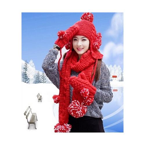 可爱球球毛线帽子围巾手套三件套女冬季加绒保暖套装圣诞生日礼物