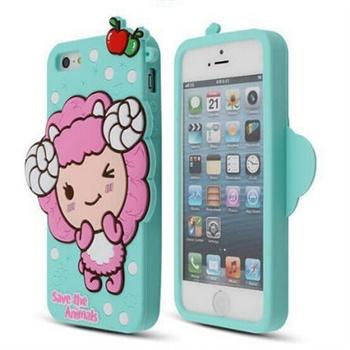 正版韩国波点小羊 iphone5s卡通硅胶套 苹果5代手机可爱保护套壳_薄荷