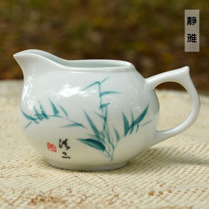 陶瓷茶备 手绘竹子公道杯 商务精品礼瓷 办公室茶具用