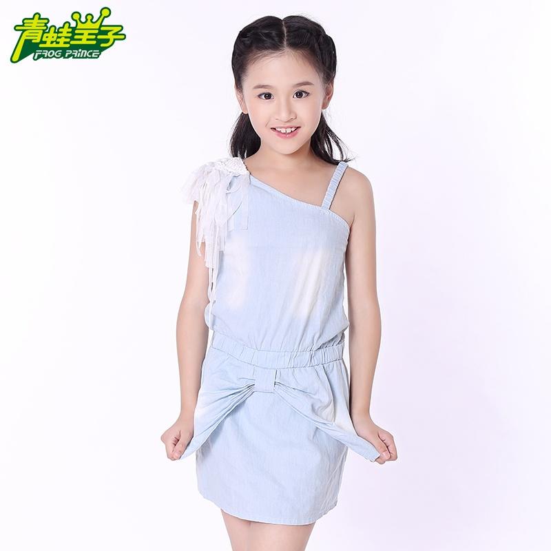 女中小童牛仔裙2014新款夏装新款儿童裙子日系单肩个性流苏连衣裙