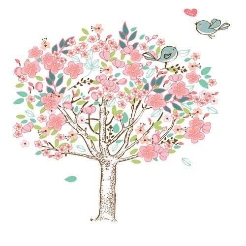 孖堡家居 diy可移除墙贴饰 可爱粉多彩花树墙贴 最新款时尚创意墙壁装