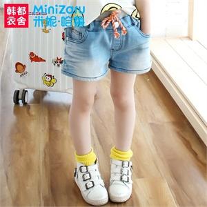【货到付款】短裤米妮哈鲁 2014夏装新款男女童装韩版中腰口袋牛仔短裤ZC4023鰮