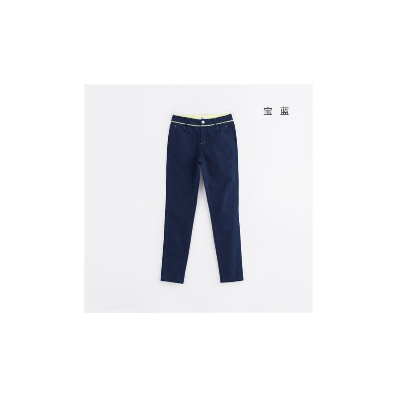 初语2014冬季新款 撞色折纸艺术个性口袋休闲小脚裤女