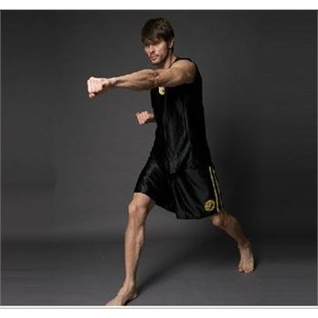 武术服 泰拳服 黑色 成人儿童散打服 拳击服 _黑色,160身高