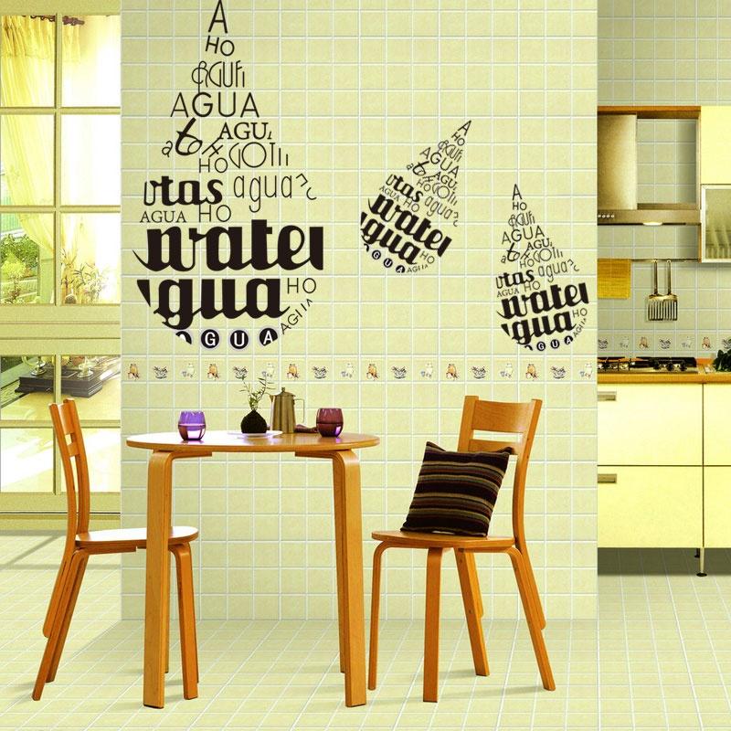 英文字母水滴状 卧室沙发休息区浴室橱窗玻璃贴 创意装饰墙贴图片