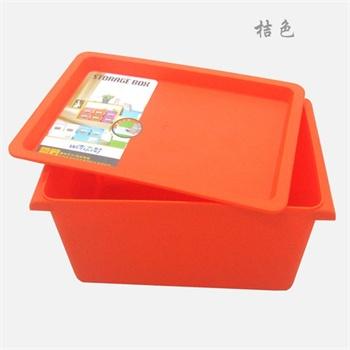 良乐屋 收纳箱整理箱 糖果色简约有盖加厚塑料收纳盒_玫红色,长方形39