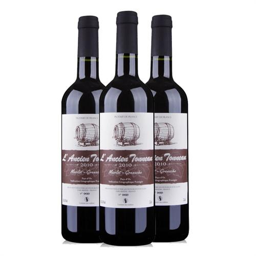 老木桶 法国进口干红葡萄酒750ml*3