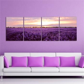 框画四联画一整套四件套紫色花海客厅背景墙现代装饰