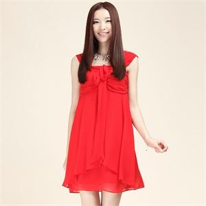 三彩女装正品秋装 气质优雅大红色吊带连衣裙宴会礼服裙S123600L20