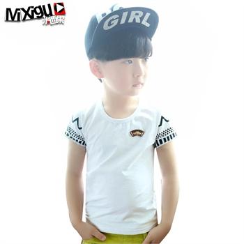 米西果品牌童装男童t恤夏装2015新款儿童白色t恤小男孩衣服中童短袖