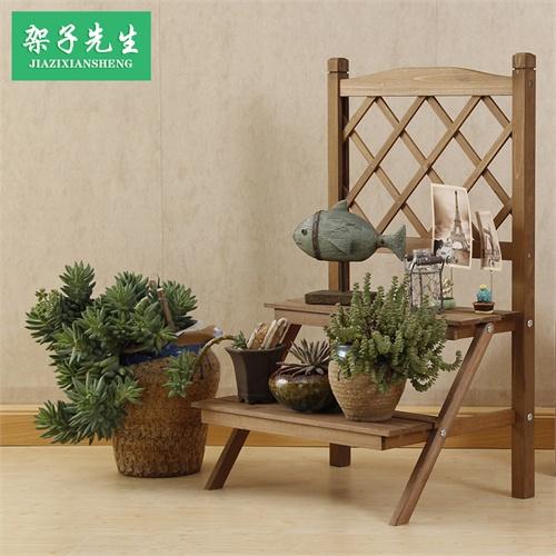 简易两层实木仿古复古阶梯形花架双层木质置物架木制