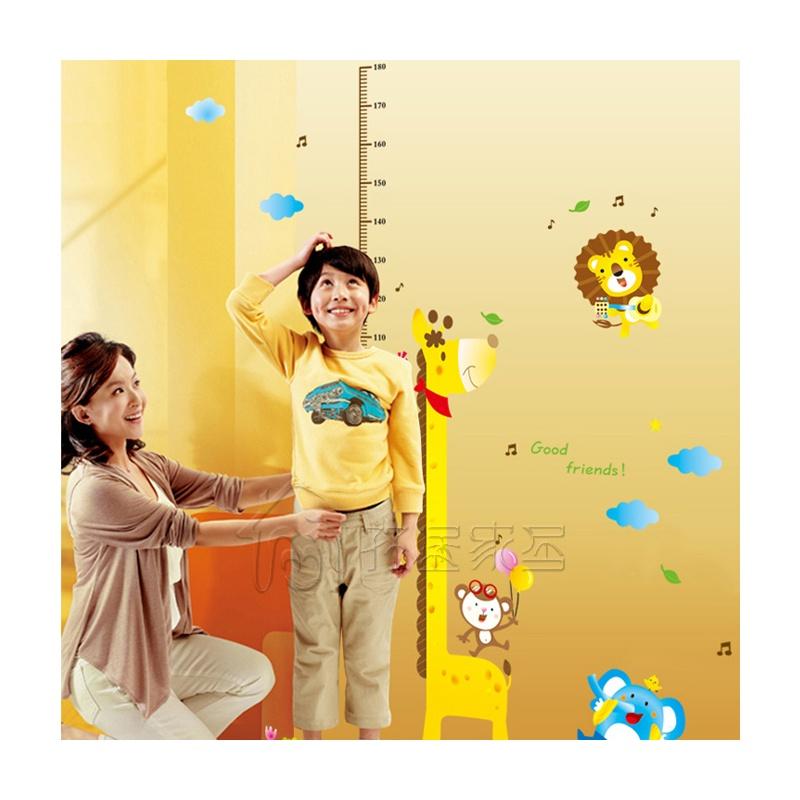 儿童房可爱卡通 装饰墙贴纸墙壁贴墙画-动物身高贴
