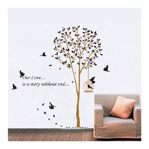 卧室客厅沙发电视背景浪漫墙贴 创意装饰墙贴纸壁贴墙画 鸟笼树