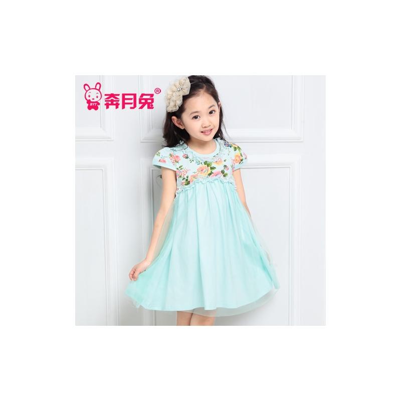奔月兔童装女童连衣裙针织裙2014新款童装女童韩版短袖碎花连衣裙