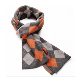新款秋冬季时尚菱形格子男士商务围巾 羊绒羊毛 围脖 送礼_橙灰格