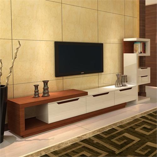 胡桃木色简约电视机墙柜组合视听柜 胡桃木色 伸缩电视柜