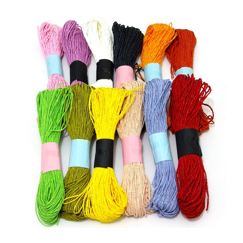 diy手工材料 彩色纸藤 细纸绳 幼儿园编织纸绳 打花束 蝴蝶结 编织