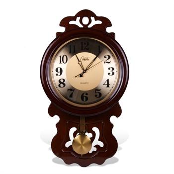 钟表客厅挂钟欧式田园静音实木钟表卧室客厅