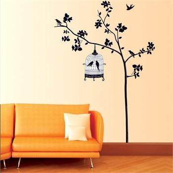 客厅卧室电视沙发走廊背景装饰贴 装饰墙贴纸壁贴墙画-树下鸟笼