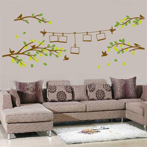 diy可移除墙贴饰 个性创意树枝小鸟照片墙贴纸壁纸 沙发卧室床头相片