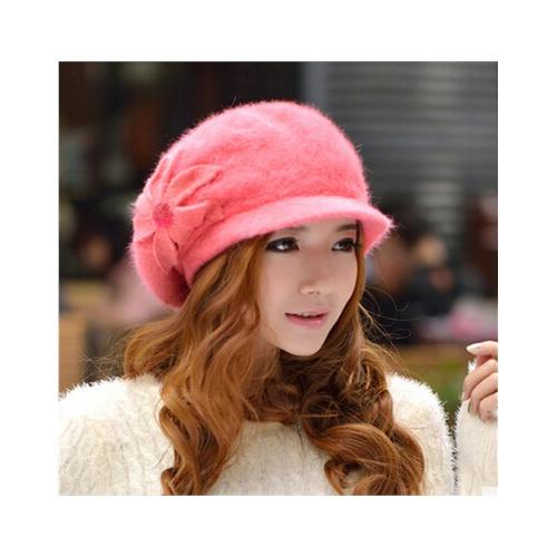 韩国冬季帽子 可爱花朵 时装帽毛线帽潮兔毛帽子女士冬天韩版秋