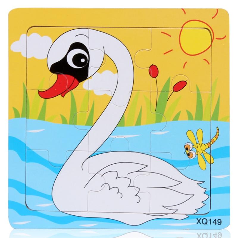 新款木质制卡通动物九块拼图