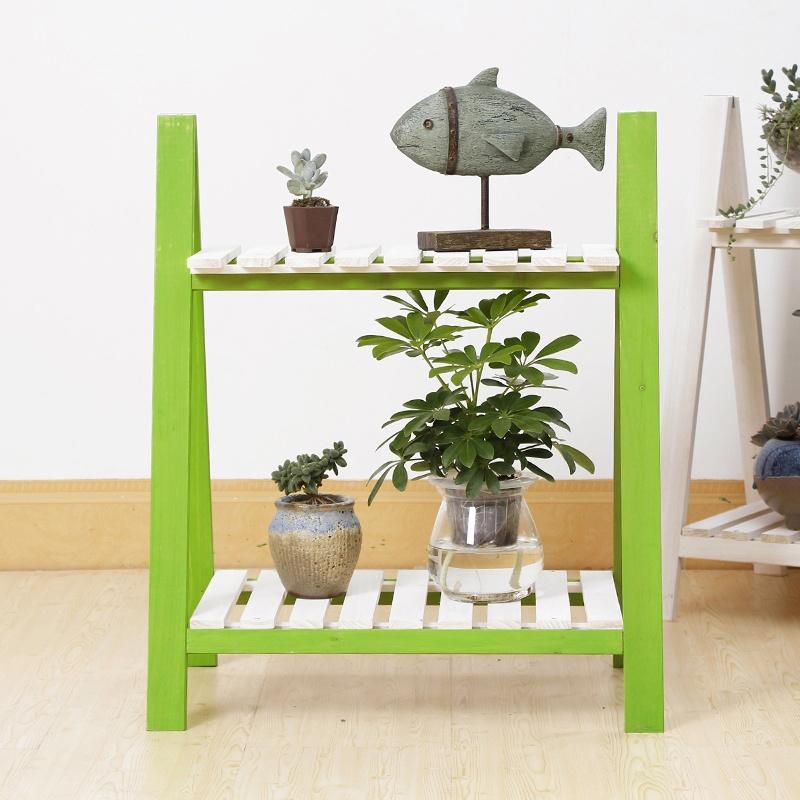 创意zakka多肉双层木头小花架花台桌面办公室办公桌装饰特价_草绿色