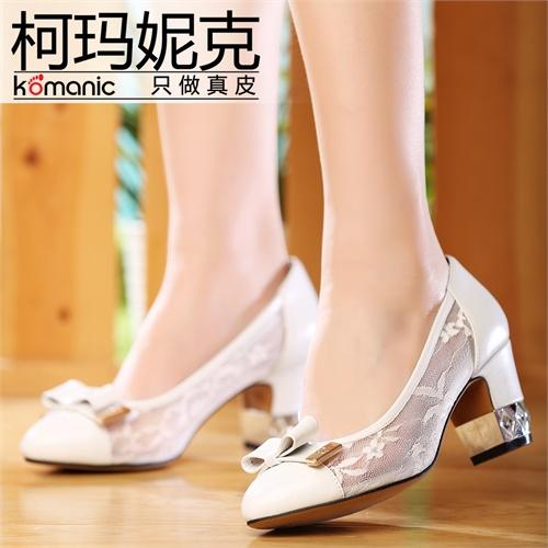 柯玛妮克/Komanic 新款蝴蝶结镂空真皮女鞋 网纱高跟女单鞋K47643
