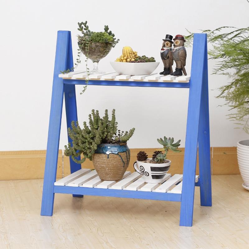 架子宜家书桌上书架田园现代简约创意zakka多肉双层木头小花架花台