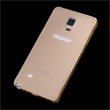 三星note4手机壳 note4手机套galaxy超薄金属边框外壳后盖保护套_金色