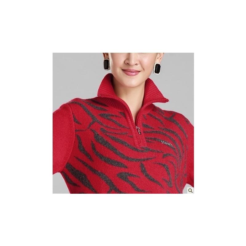 海尔曼斯 2014秋冬新款中老年女士半开拉链加厚羊绒衫羊绒毛衣b039b78