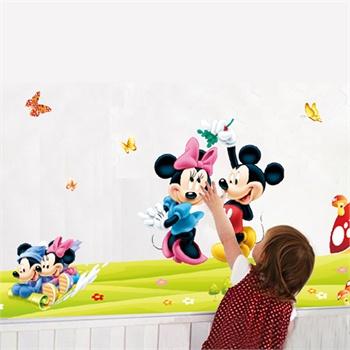 儿童房间教室幼儿园卡通环保墙贴纸 卧室玻璃随意贴【米奇米妮】