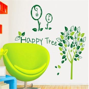 客厅餐厅书房卧室电视背景环保贴纸 装饰墙贴纸壁贴墙画 快乐树