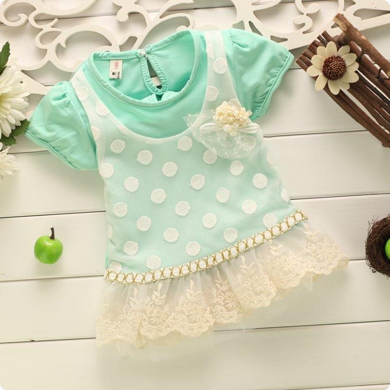 圆点百花蕾丝珍珠衣裙 女宝宝连衣裙可爱裙_b0048绿色,120码(建议80cm