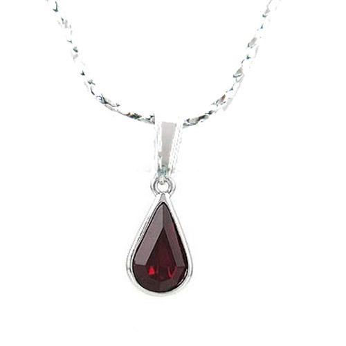 伊泰莲娜 丽晶红色水滴镶锆钻合金项链