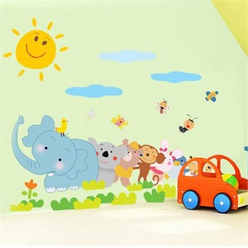 儿童房幼儿园墙壁卡通贴 宝宝贴纸装饰小号墙贴壁贴 卡通动物接力