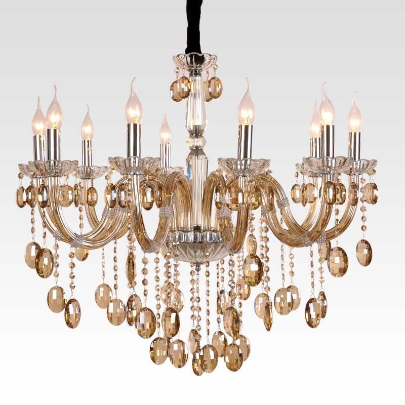 欧式宫廷大型水晶吊灯系列电镀干邑色进口水晶弯管客餐厅吊灯10头