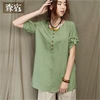 森宿 花的故乡~文艺宽松刺绣衬衫图片