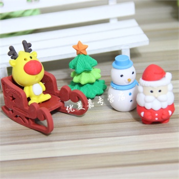 小朋友圣诞节礼物礼盒套装橡皮擦可爱圣诞树雪人小