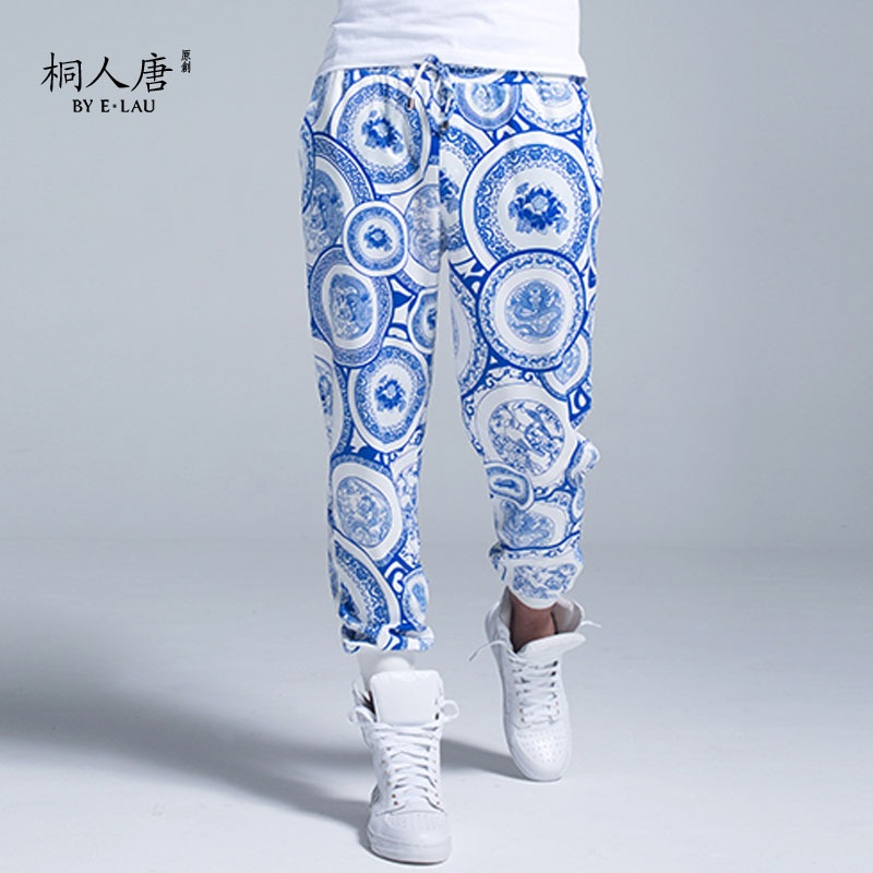 桐人唐原创 独家设计中国风青花瓷印花9分裤2014秋季新款潮流男裤
