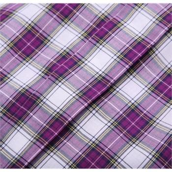 步森男装 纯棉短袖衬衣 紫色格子衬衫韩版休闲衬衫 商务正装半袖_紫色
