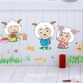 卡通卧室床头儿童房间装饰背景装饰墙贴壁贴 客厅创意墙贴 喜洋洋