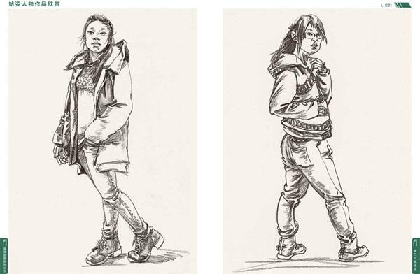 速写欣赏 站姿人物作品欣赏 绘画步骤解析与优秀作品赏析——坐姿类
